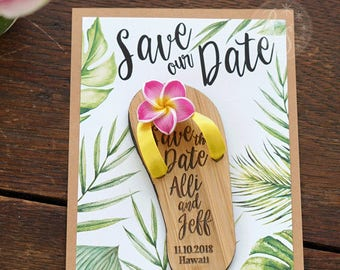 Flip-flop Boxed Tropical Save-the-Date Magnets, Beach flipflop save the date invites, Tropical Plumeria flower wedding invite magnets