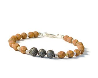 Essential Oil Bracelet, Natural Lava Stones & Czech Glass Beads, Diffuser Jewelry