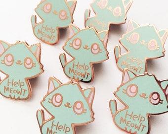 Help Meowt Cat Enamel Pin, Aqua Blue, Hard Enamel Pin, Cat Pin, Lapel Pin Badge, Cute Cat Pin