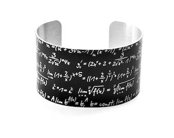 Math Equations on Chalkboard Aluminium Geekery Cuff Jewelry