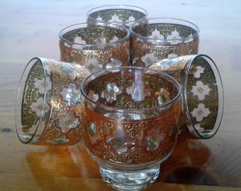 Vintage  Mid Century Modern Culver Valencia Footed On The Rocks Or Lowball Bar Glasses With Ornate 22K Gold Trim
