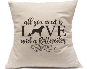 Rottweiler Pillow|Pet Name Pillow|Pet Gift|Rottweiler Gift|Custom Dog Owner Gift|Dog Breed Pillow|Gift For Pet Lover|Custom Pillow Cover