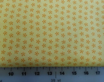Cotton Fabric - Flower Bucket -  Yello with Gold Floewrs - Windham Fabrics - 30369-3  -  CLEARANCE SALE!!!