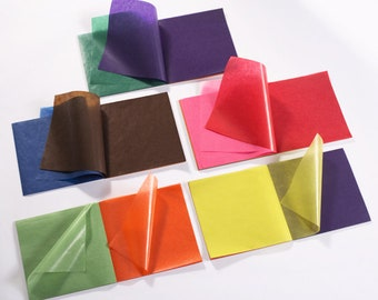glassine translucent origami coloured paper pad