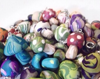 Lot of Handmade Clay Mushroom Pendant Assorted Fimo Clay Polymer Clay Bulk Lot