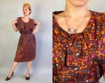 Vintage 1950s Dress | 50s Volup Copper Orange Multicolor Circle Print Acetate Day Dress with Shawl Collar and Self Belt | Extra Large XL