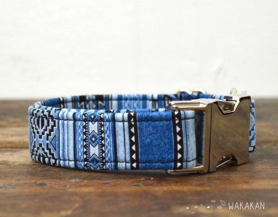 Navajo dog collar adjustable. Handmade with 100% cotton fabric. Bohemian denim. Wakakan