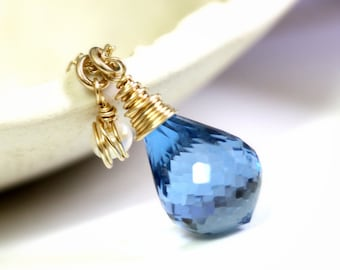 Blue topaz necklace, gemstone necklace, blue topaz and pearl necklace
