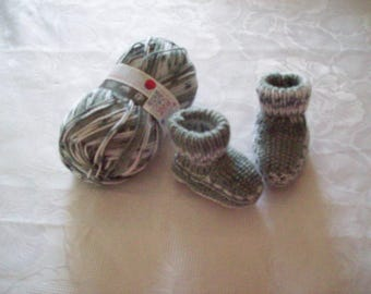 booties for baby, newborn to 3 months, gray (gradient)