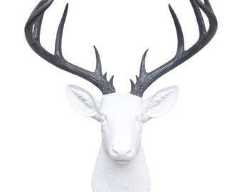 Large Deer Head Sculpture – By Near and Deer Faux Taxidermy - White and Grey Stag Wall Mount – Unique Modern Home Decorating accent – ND0115