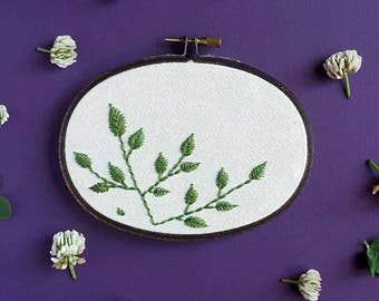 Hand embroidery - Fern Oval Hoop