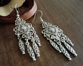 Tribal Earrings |  Boho Bohemian Gipsy Earrings | Silver Plated Earrings | Ethnic Jewelry | Boho Chic Chandelier Earrings | Ethnic Earrings