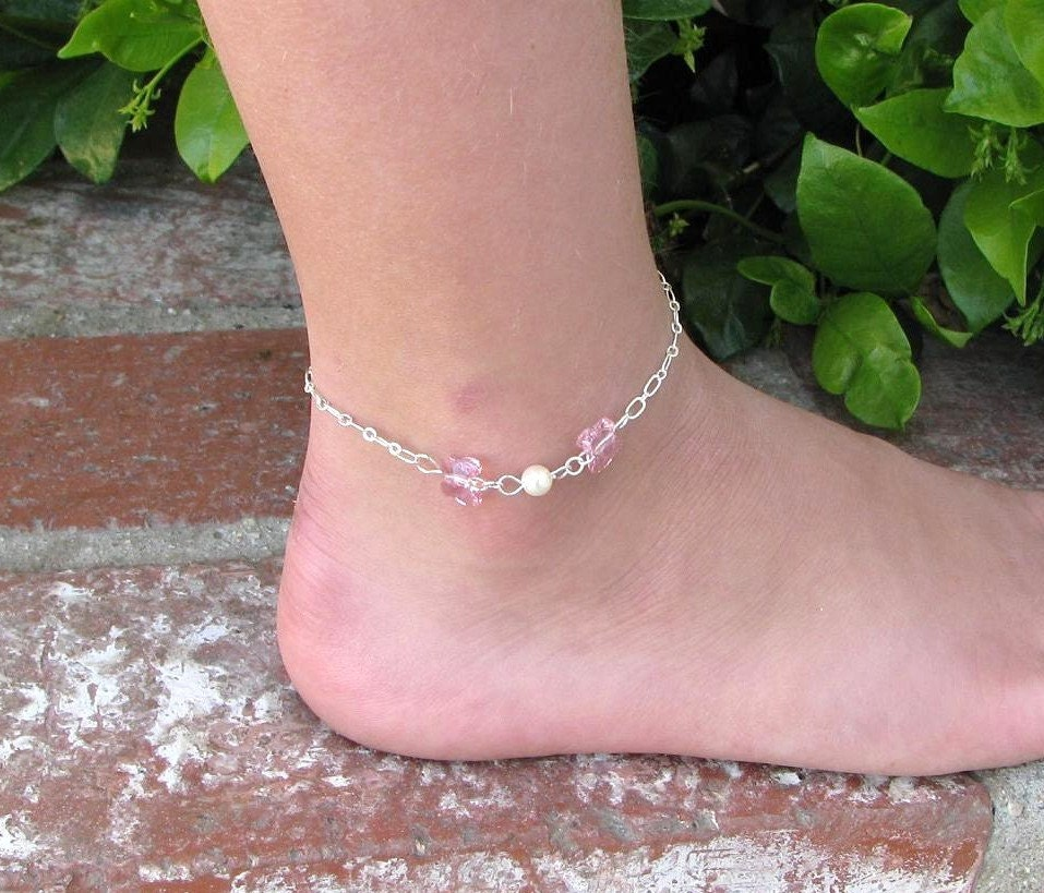 October Birthstone Anklet Girls Butterfly Silver Anklet