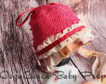 20%OFF* Newborn Bonnet, Newborn Girl Bonnet, Baby Girl Bonnet, Newborn Photo Prop, Baby Photo Prop, Lace Bonnet, Red Bonnet, Linen Bonnet