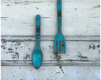 Spoon and Fork Wall Art Fork and Spoon - Wooden Spoon - Wooden Fork - Tiki Style - Wooden Fork And Spoon - Small Fork and Spoon - Boho Decor