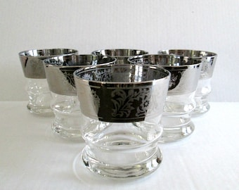 Silver Etched Glass Bar Glasses Barware Mid Century Home