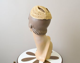 1930s Cream Straw Juliet Cap