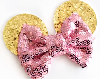 Gold & Pink Sparkle Bow Mini Ears