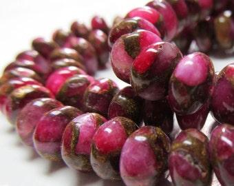 Jasper Beads 8 X 4mm Natural Rose Red Pink Jasper Cloisonne Smooth Round Rondelles -  16 Pieces