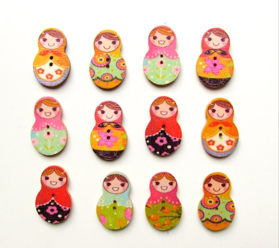 10 Russian nesting doll buttons MIX - Matrioshka craft buttons- Russian dolls - Flatback embellishment  Nesting doll buttons - Craft buttons