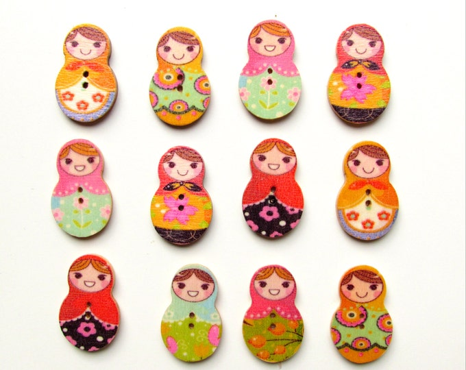 10 Russian nesting doll buttons, Matrioshka buttons, Russian doll buttons,  Nesting doll wooden buttons  Craft buttons