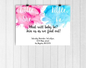 Gender reveal invitation, gender reveal invite, blue or pink invite, blue and pink, baby shower invitation gender reveal party, simple