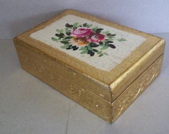 Vintage Florentine Box - Florentine Dresser Box - Florentine Jewelry Box - Italian Gilt Box
