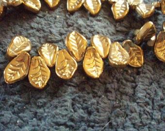 6 Gold Leaf Beads