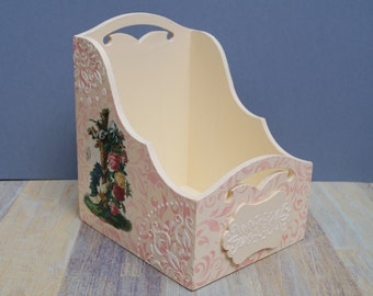 Wooden crate Romantic wood box wooden box wooden decoupage box home decoration storage box decorative box decoupaged box romantic box