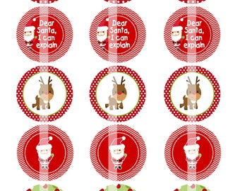 Dear Santa - Digital Collage - 2 Inch Circles - Buy 2 Get 1 Free - perfect for treat bags
