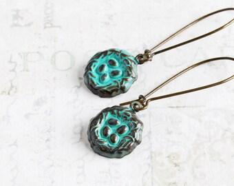 Teal Blue Earrings, Small Bird Nest Earrings on Antiqued Brass Hooks, Aqua Dangle Earrings, Easter Jewelry