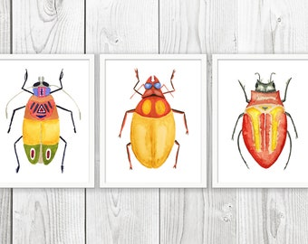 Beetle Art Set Of 3 - PRINTABLE Watercolor Beetle Painting, Colorful Beetle, Insect Art, Beetle Print, Instant Download ACC230