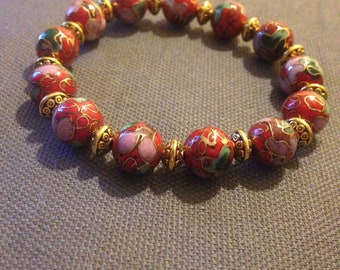 Red cloisonne stretch bracelet