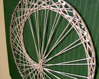 Modern String Art Rectangle Tablet - Sea Snail on Green Tea