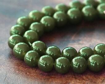 Dyed Jade Beads, Semi-Transparent Dark Olive Green, 6mm Round - 15 Inch Strand - eSJR-Y44-6