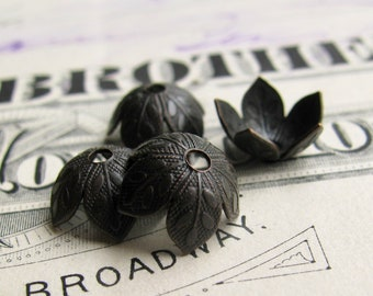 Cherry blossom bead cap, 8mm bead cap (6 black bead caps) antiqued brass, oxidized patina, nickel free, made in USA, foliage, BCUT012