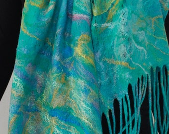 Cobweb  Felted Scarf Lacy Airy Weightless Scarf Blue Lagoon Lavender Yellow   and Lavender