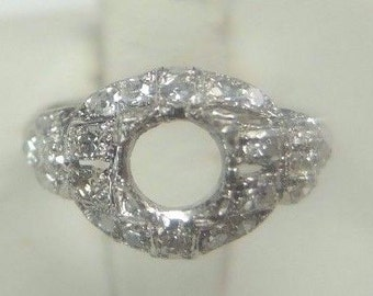 Antique Vintage Diamond Platinum Engagement Ring Setting | Will Hold 5MM | ES-210