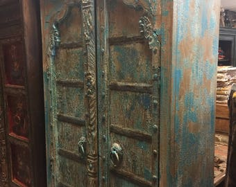Farmhouse City Chic Antique Arched Door Cabinet, India Furniture, Blue Distressed Armoire, Iron Nailed,  Old World Charm Resort Decor