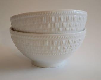 Pair of basketweave bowls
