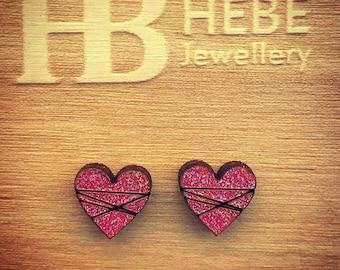 Valentine's Gift,Stud Earrings, Wooden Earrings, Love Heart, Red Earrings, Gift For Her