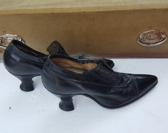 Victorian Black Antique ladies leather Shoes Small X Small