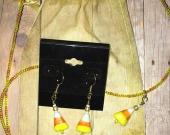 Candy Corn Earrings and Necklace Gifr Set