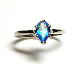 """Rainbow topaz, topaz ring, pink green ring, rainbow topaz ring, pear engagement , solitaire ring, s 7 """"Vegas Lights"""""""