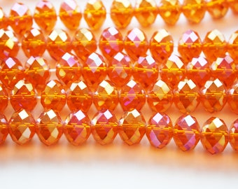 Orange Faceted Rondelle Crystal Glass Beads - 13mm - 17ct - D234