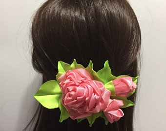 Pink flower hair clip Bridesmaids hair pieces Floral hair clip Pink mint hair accessories Wedding flowers hair Spring bride head piece Prom
