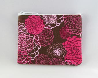 Pink Flowers Coin Purse - Coin Bag - Pouch - Accessory - Gift Card Holder