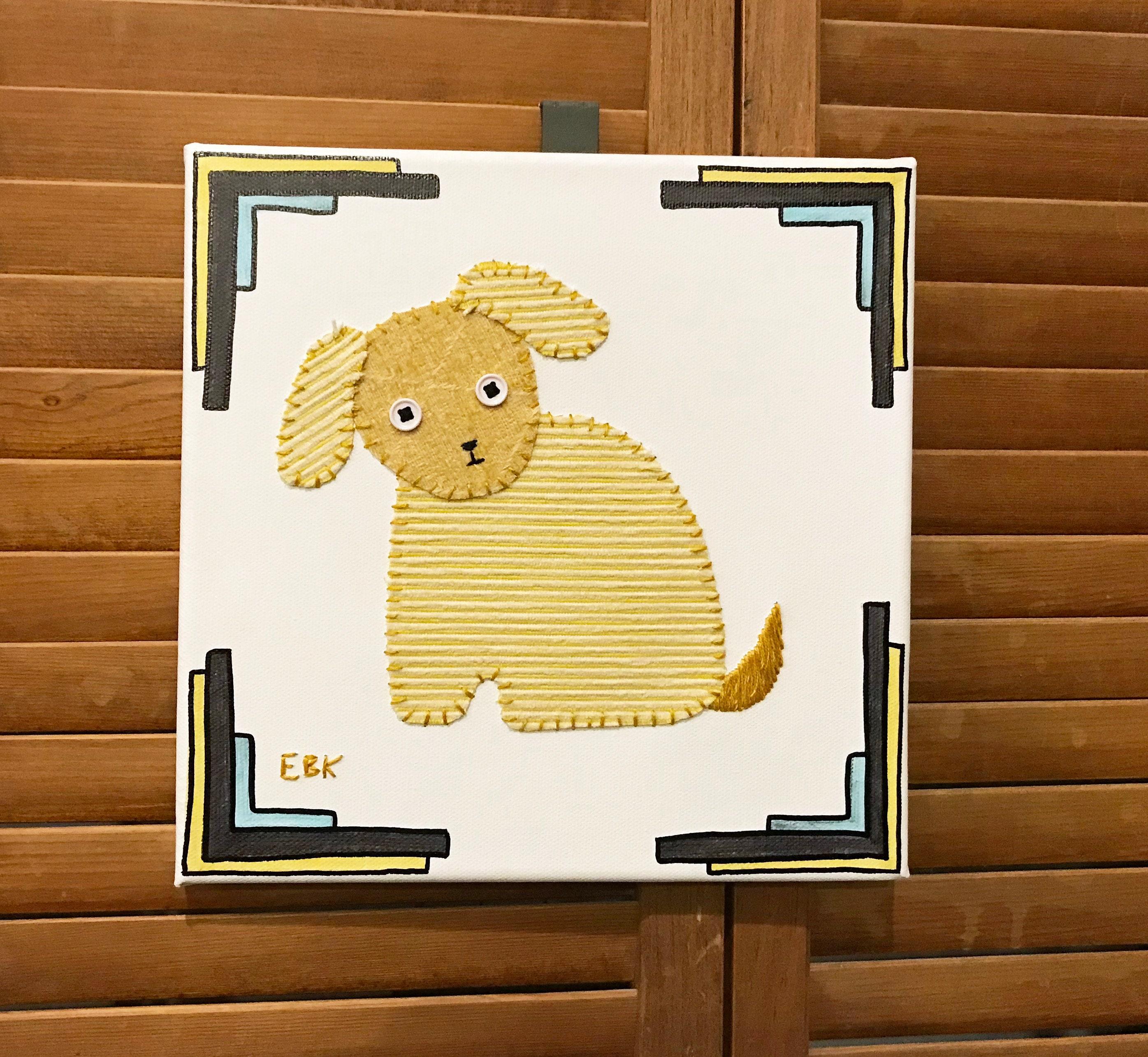 Sitting Puppy 3 Fabric Wall Art