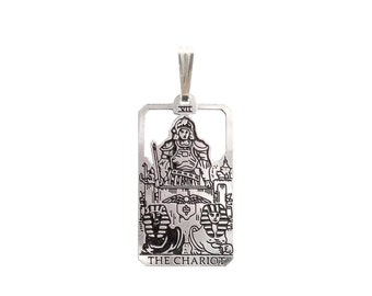 VII The Chariot Tarot Pendant  in Sterling Silver