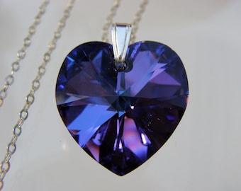 5 Wedding Bridesmaids Swarovski Crystal Purple Heart Sterling Silver Necklace